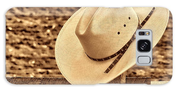 White Cowboy Hat On Fence Galaxy Case