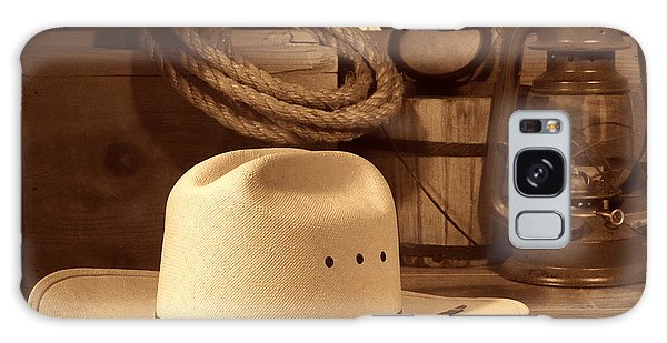 White Cowboy Hat On Workbench Galaxy Case