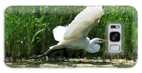 White Egret In Flight Galaxy Case