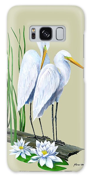 White Egrets And White Lillies Galaxy Case