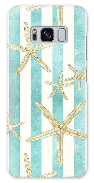 White Finger Starfish Watercolor Stripe Pattern Galaxy Case by Audrey Jeanne Roberts