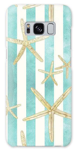 Sea Galaxy Case - White Finger Starfish Watercolor Stripe Pattern by Audrey Jeanne Roberts