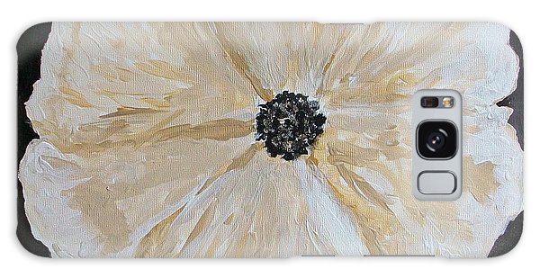 White Flower On Black Galaxy Case by Marsha Heiken