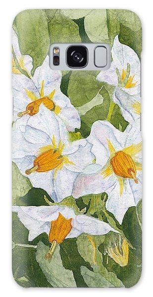 White Garden Blossoms Watercolor On Masa Paper Galaxy Case