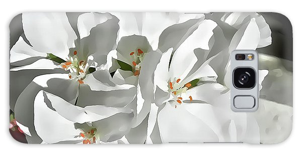 White Geraniums Galaxy Case