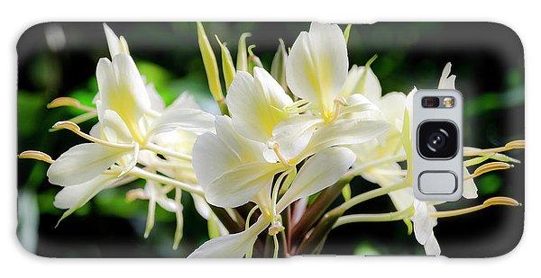 White Hawaiian Flowers Galaxy Case