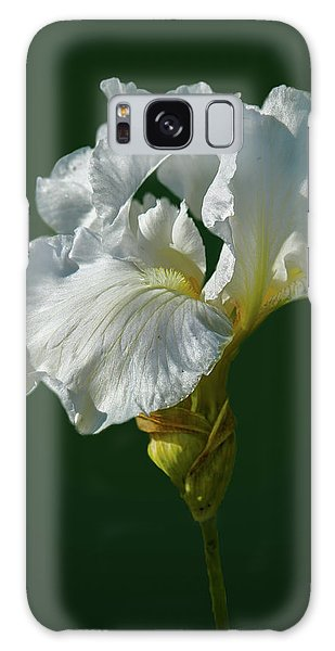Galaxy Case featuring the photograph White Iris On Dark Green #g0 by Leif Sohlman