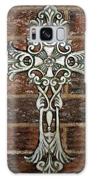 White Iron Cross 1 Galaxy Case by Angelina Vick