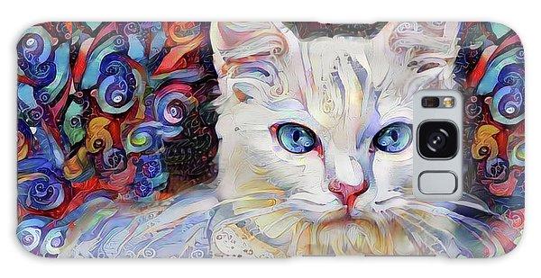 White Kitten With Blue Eyes Galaxy Case