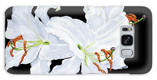 White Lilies Galaxy Case