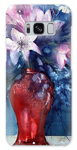 Flowers - White Lilies In Red Vase Galaxy Case