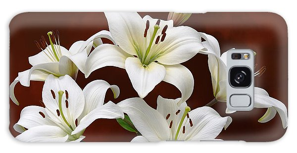 White Lilies On Red Galaxy Case by Jane McIlroy