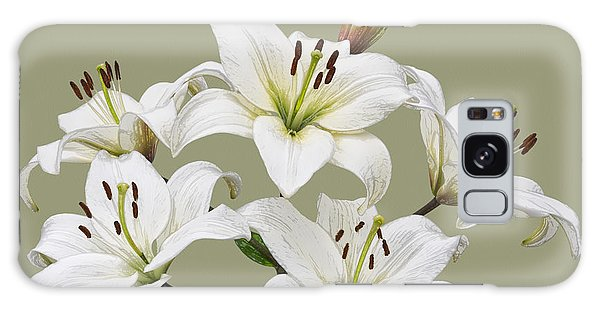 White Lilies Illustration Galaxy Case