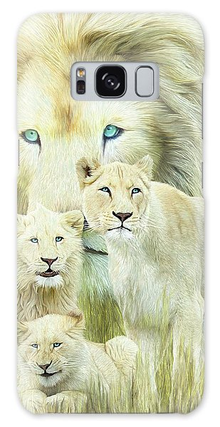 Galaxy Case featuring the mixed media White Lion Family - Forever by Carol Cavalaris