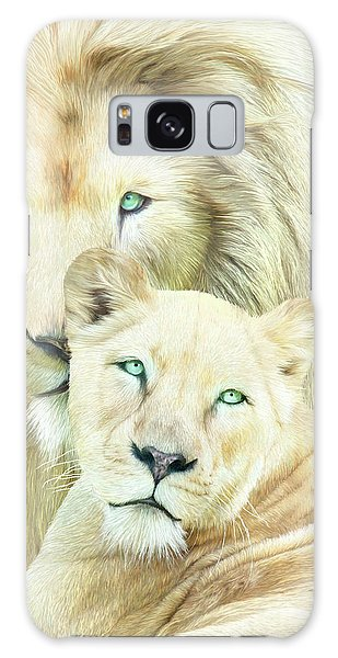 Galaxy Case featuring the mixed media White Lion Family - Mates by Carol Cavalaris
