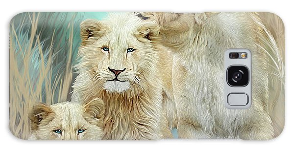 Galaxy Case featuring the mixed media White Lion Family - Mothering by Carol Cavalaris