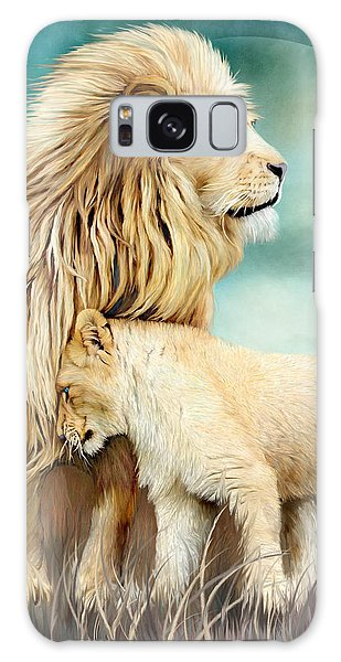 Galaxy Case featuring the mixed media White Lion Family - Protection by Carol Cavalaris