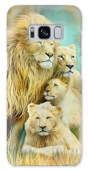 Galaxy Case featuring the mixed media White Lion Family - Unity by Carol Cavalaris