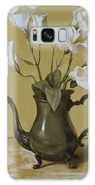 White Lisianthus In Silver Coffeepot Galaxy Case