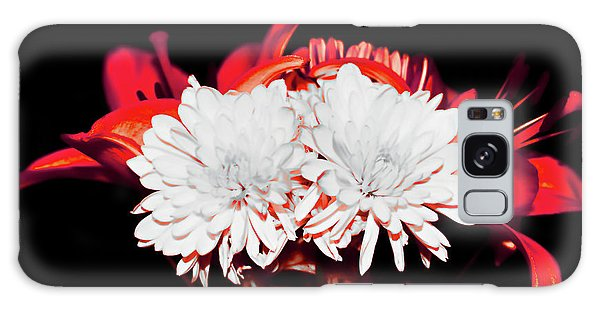 White Mums And Red Lilies Galaxy Case