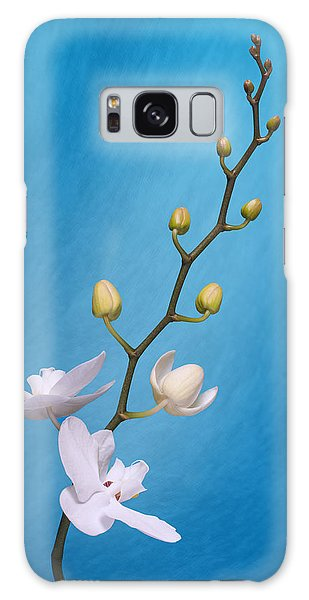 Orchidaceae Galaxy Case - White Orchid Buds On Blue by Tom Mc Nemar