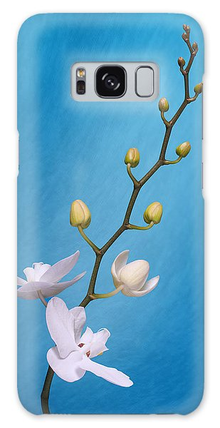 Orchid Galaxy Case - White Orchid Buds On Blue by Tom Mc Nemar