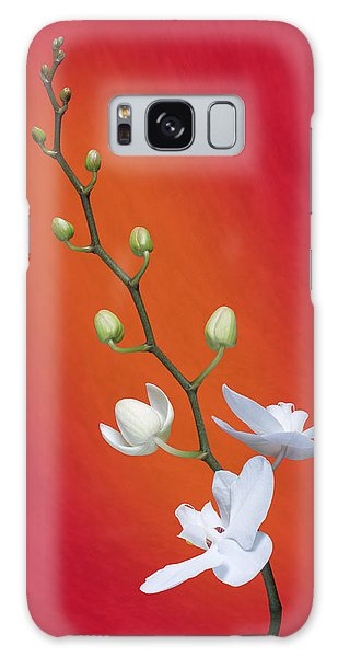 Beautiful Galaxy Case - White Orchid Buds On Red by Tom Mc Nemar