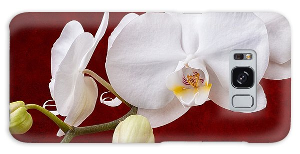 White Orchid Closeup Galaxy Case
