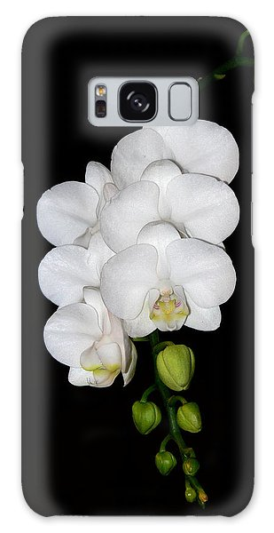White Orchids On Black Galaxy Case