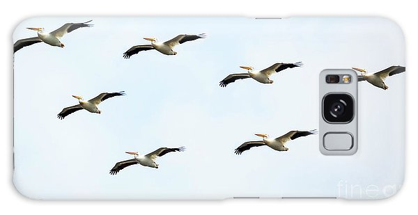 Galaxy Case featuring the photograph White Pelican Flyby by Ricky L Jones
