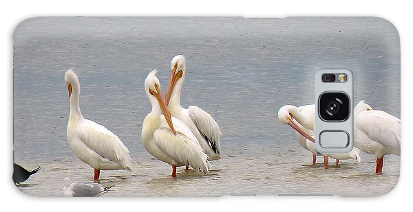 White Pelicans And Friends Galaxy Case