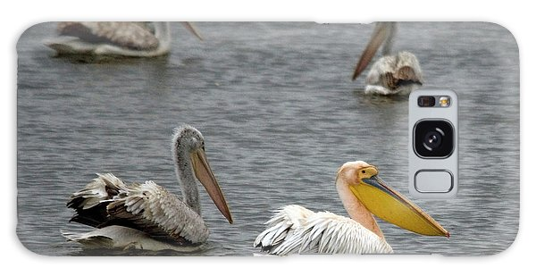 White Pelicans On Lake  Galaxy Case