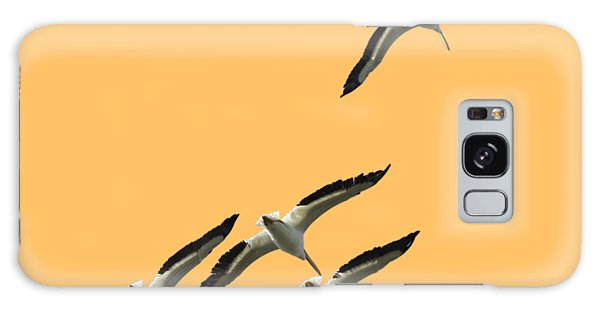 White Pelicans Transparency Galaxy Case