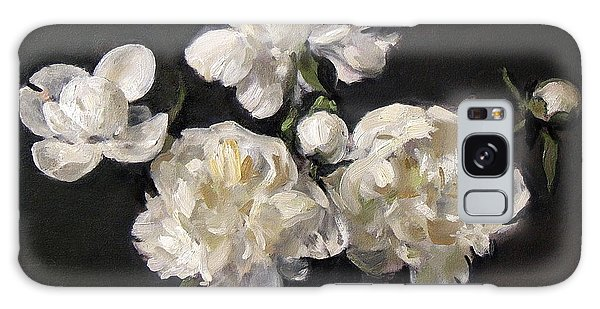 White Peonies Alone Galaxy Case