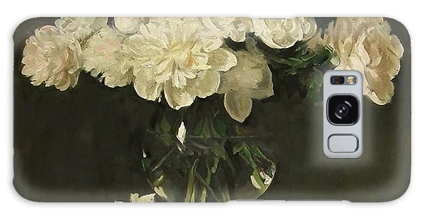 White Peonies In Giant Snifter With Peaches Galaxy Case