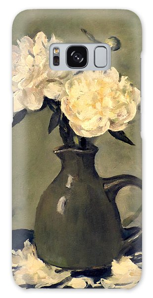 White Peonies In Small Green Pitcher Galaxy Case