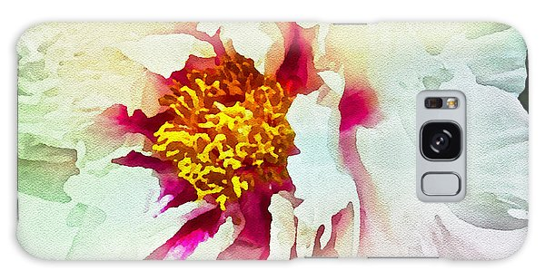 White Peony Galaxy Case by Joan Reese