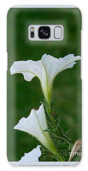 White Petunia Blossoms Galaxy Case
