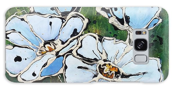 White Poppies Galaxy Case