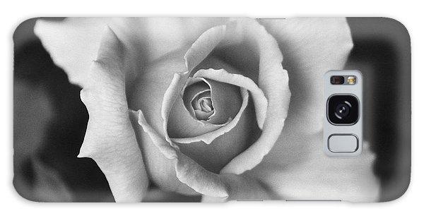 White Rose On Black Galaxy Case