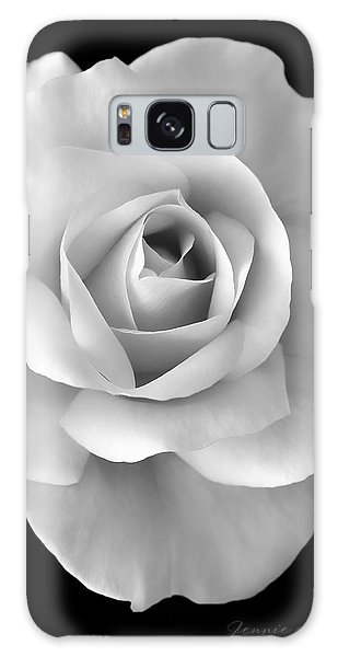 White Rose Flower In Black And White Galaxy Case