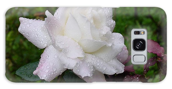 White Rose In Rain Galaxy Case
