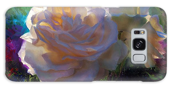 White Roses In The Garden - Backlit Flowers - Summer Rose Galaxy Case