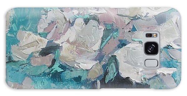 White Roses Palette Knife Acrylic Painting Galaxy Case