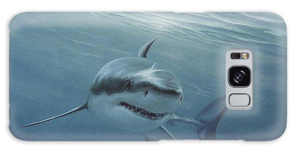 White Shark Galaxy Case by Angel Ortiz