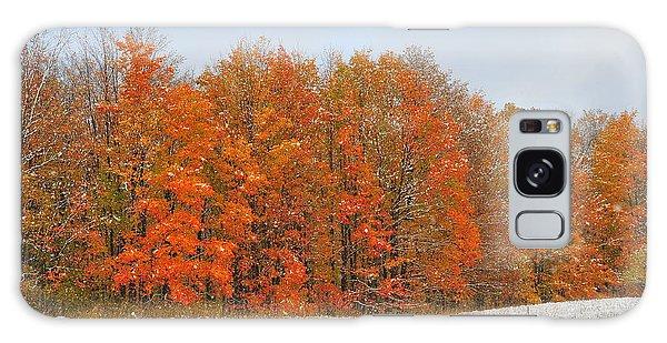 White Snow In Autumn Galaxy Case