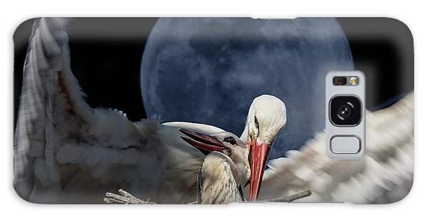 White Storks Of Fagagna With Full Moon Galaxy Case