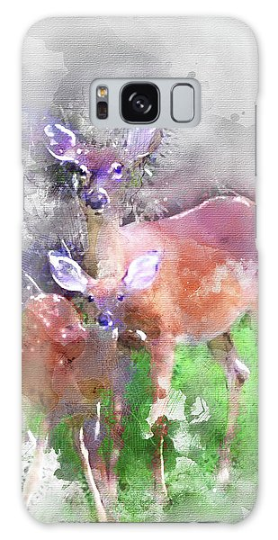White Tail Deer In Watercolor Galaxy Case