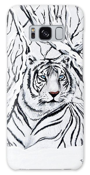 White Tiger Blending In Galaxy Case by Teresa Wing