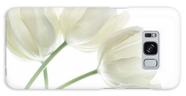 White Tulip Flowers Galaxy Case by Charline Xia